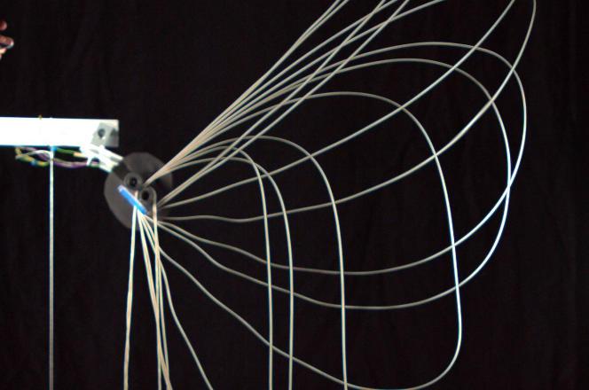 Représentation d'étapes d'élévationd'une corde bouclée propulsée par un moteur (à gauche).