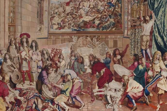 «Le roi visitant la Manufacture des Gobelins», Manufacture des Gobelins, de 1673 à 1680, 5 x 7 m.