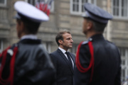 Emmanuel Macron, lors de l'hommage aux victimes de l'attaque àla Préfecture de police, le 8 octobre 2019.