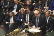 Boris Johnson, samedi 19 octobre au Parlement, lors du vote sur l'accord avec l'Union européenne.