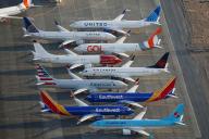 Des Boeing 737 MAX stationnent à l'aérodrome de Moses Lake (Etat de Washington), le 16 septembre.