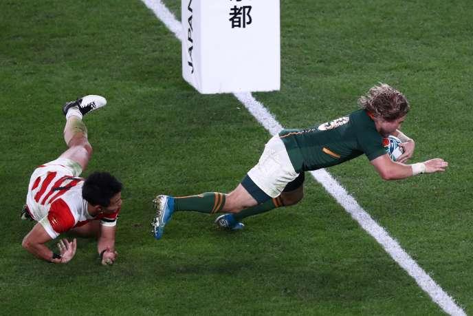 Faf de Klerk, élu meilleur joueur du match, a marqué le deuxième essai des Springboks contre le Japon, le 20 octobre à Tokyo.