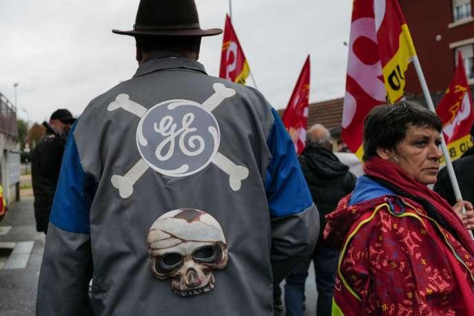 Manifestation en soutien aux salariés de General Electric à Belfort, le 19 octobre.