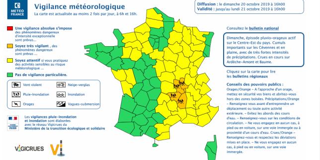 Alerte pluie-inondation et orages dans quatre départements du sud-est de la France