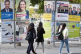 Panneaux électoraux à Zurich, le 7 octobre, en vue des élections fédérales du 20 octobre.