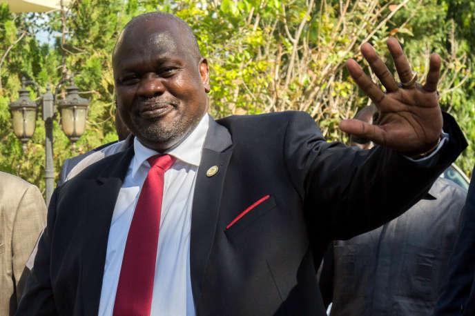 Le chef rebelle et ancien vice-président sud-soudanais Riek Machar, à Juba, le 19 octobre 2019.