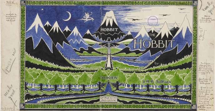 Maquette de la jaquette du « Hobbit », dessinée par Tolkien, 1937.