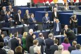 Jean-Claude Juncker lors de son discours d'adieux au Parlement européen, le 22 octobre à Strasbourg.