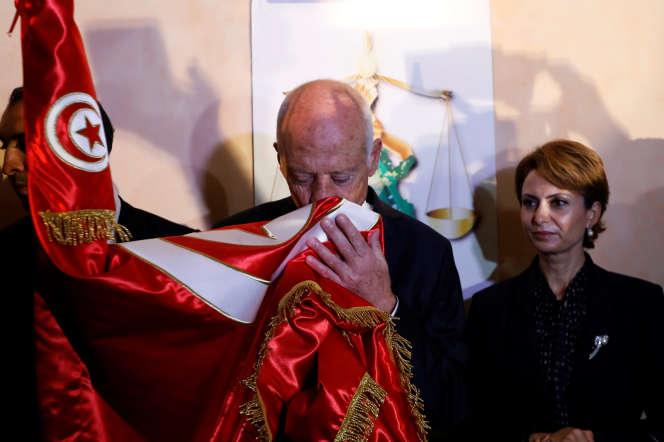 Le nouveau chef de l'Etat tunisien Kaïs Saïed à Tunis, le 13 octobre 2019, jour de sa victoire à l'élection présidentielle.