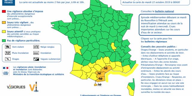 Alerte orage, pluie et inondations du Roussillon à l'Hérault, et en Andorre
