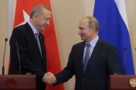 Le président turc Recep Tayyip Erdogan, et son homologue russe Vladimir Poutine, àSotchi, le 22 octobre.