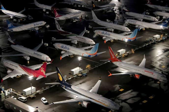 Des Boeing 737 MAX entreposés à Seattle (Etat de Washington), le 20 octobre.