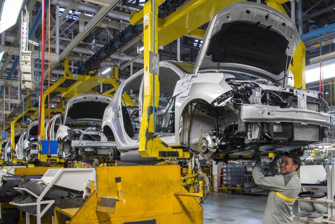Dans l'usine Renault de Tanger, au Maroc, en mars 2018.