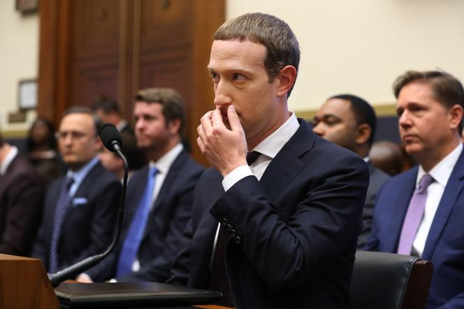 Mark Zuckerberg devant la commission des services financiers de la Chambre des représentants, à Washington, le 23 octobre.