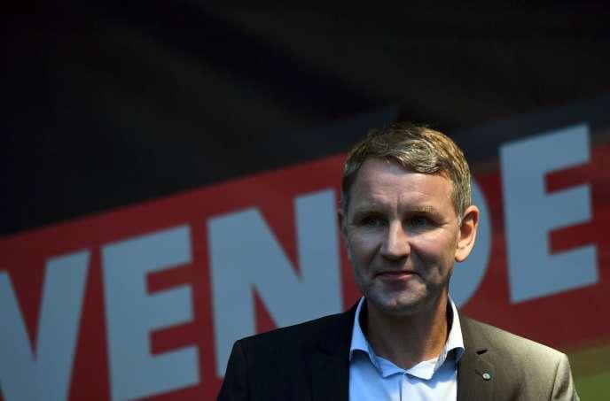 Björn Höcke, le candidat de l'AfD pour le scrutin régional en Thuringe, lors d'un meeting à Gotha le 23 octobre.