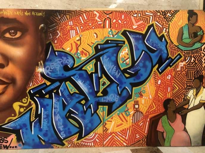 Peinture réalisée par le collectif RBS Crew de Dakar pendant le forum régional sur l'expérience des soins en Afrique.