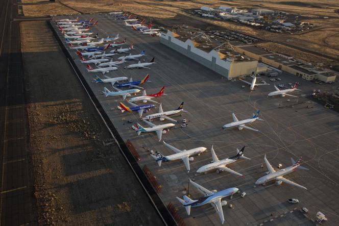 Des Boeing 737 MAX immobilisés à l'aéroport international de Grant County, à Moses Lake (Etat de Washington, nord-ouest des Etats-Unis), le 23 octobre.