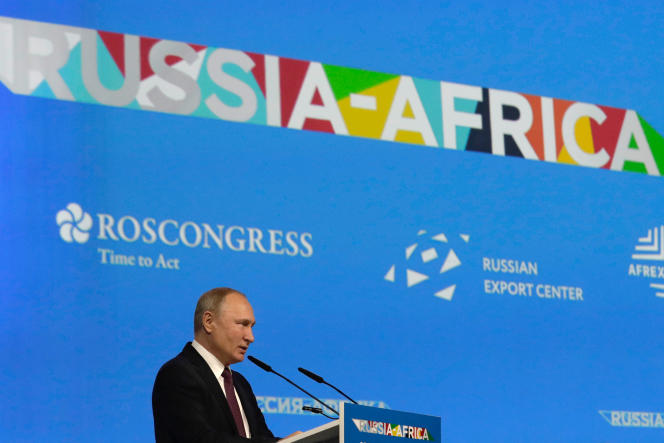 Le président russe Vladimir Poutine lors du sommet Russie-Afrique, à Sotchi, le 23 octobre 2019.
