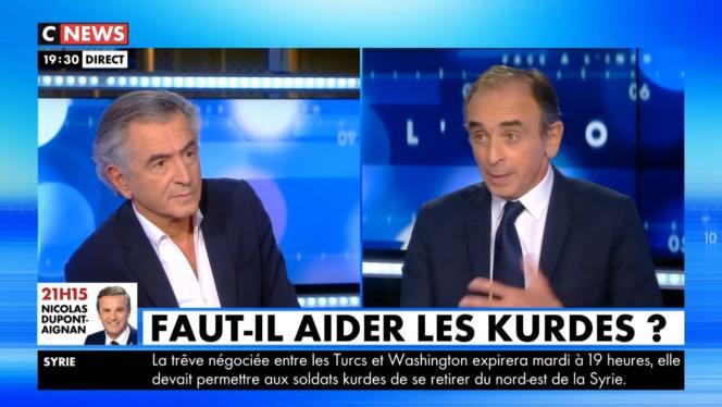 Capture d'écran de l'émission «Face à l'info ». Le philosophe Bernard-Henri Lévy et Eric Zemmour (à droite) le 21 octobre.