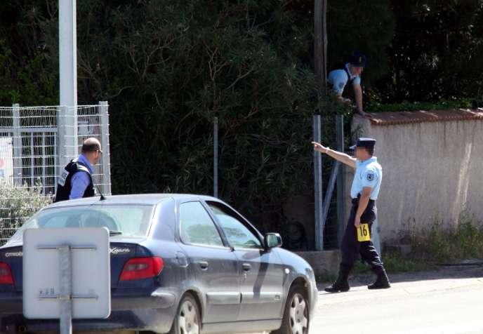 Reconstitution, en avril 2011, de l'assassinat de Richard Casanova, à Porto-Vecchio (Corse-du-Sud).
