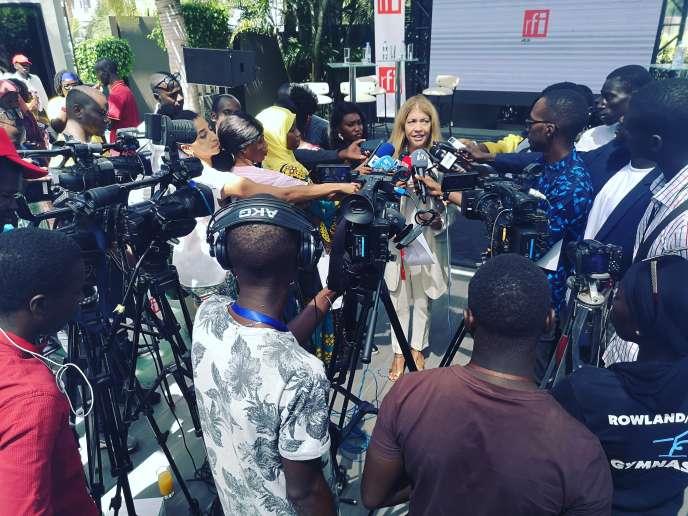 Marie-Christine Saragosse, patronne de France Médias Monde, à Dakar pour l'inauguration des locaux de RFI, mardi 22 octobre.