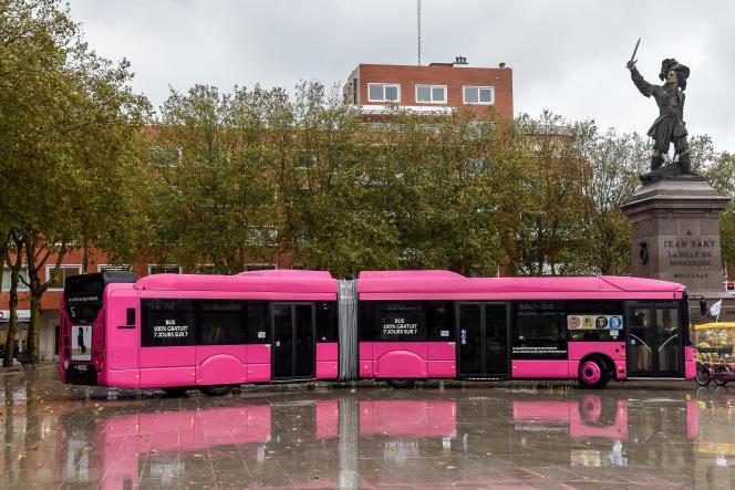Un bus« 100 % gratuit» à Dunkerque, enoctobre2018, un mois après la mise en place de la gratuité dans les transports en commun de la ville du Nord.
