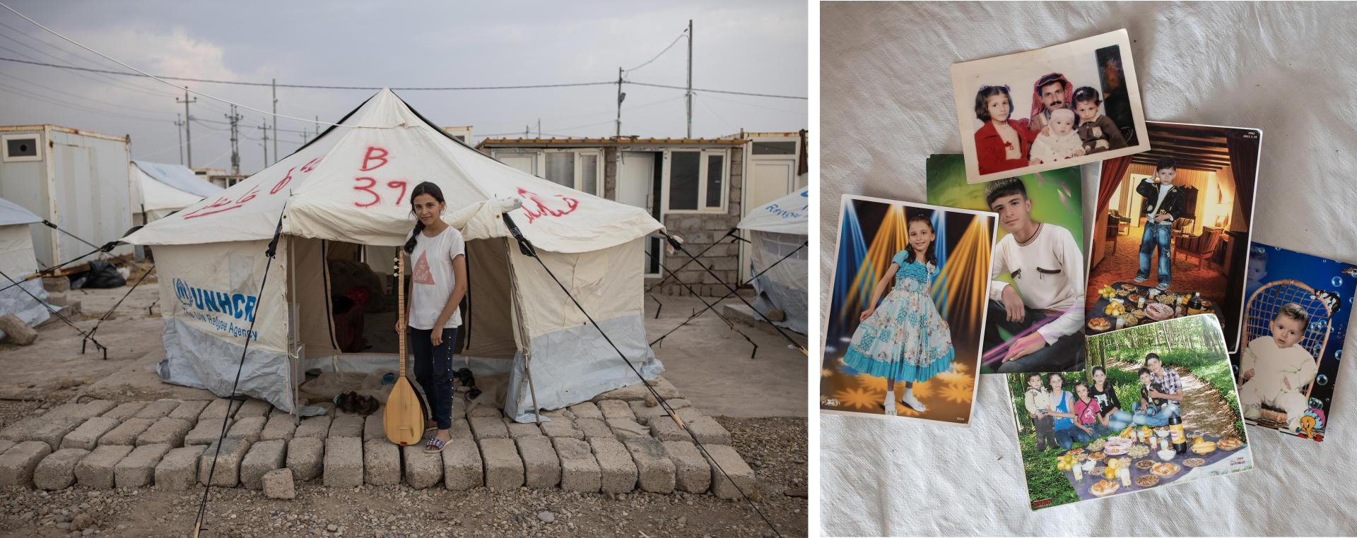 Soline, 15 ans, originaire de Kamechliyé (Nord-Est syrien), pose avec son luth, instrument traditionnel kurde, le 21 octobre, au camp de réfugiés de Bardarash (Kurdistan irakien). Elle a fui la Syrie avec sa mère et son frère trois jours auparavant. Sur les quelques photos qu'elle a emportées, on peut voir les autres membres de sa famille restés en Syrie.C'est la deuxième fois qu'ils viennent se réfugier en Irak. Ils étaient déjà là en 2014. Nadja, la mère de Solin, nous dit: «Le Rojava, c'est notre maison, on a jamais voulu la quitter. »