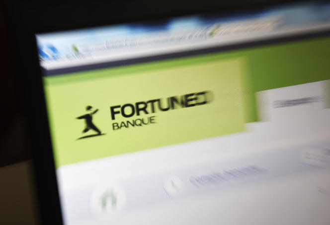Le site Web de la banque en ligne Fortuneo (Crédit mutuel Arkéa), à Paris, en 2015.