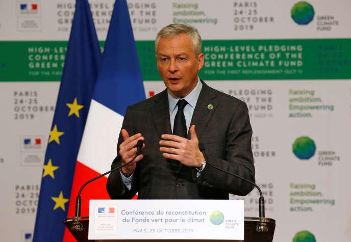 Le ministre de l'économie et des finances, Bruno Le Maire, lors d'une conférence du Fonds vert pour le climat, à Paris, le 25 octobre.