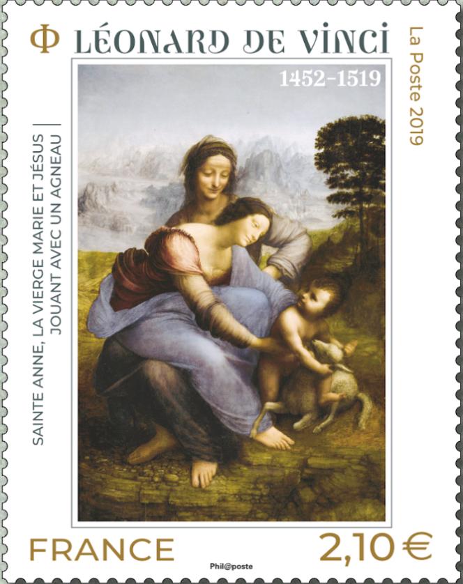 « Sainte-Anne, la Vierge Marie et Jésus jouant avec un agneau», de Léonard de Vinci. Timbre mis en page par Aurélie Baras d'après photo RMN-Grand Palais (musée du Louvre)/René-Gabriel Ojéda.