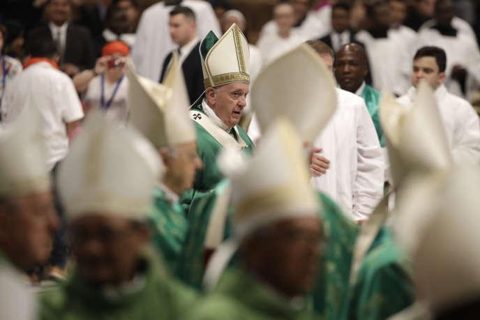 Le pape François, lors de la clôture dusynode des évêques pour l'Amazonie, au Vatican, le 27 octobre 2019.
