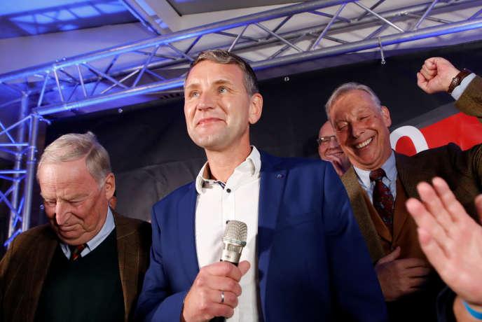 Björn Höcke, de la formation d'extrême droite Alternative pour l'Allemagne (AfD), après l'annonce des résultats, le 27 octobre, à Erfurt.