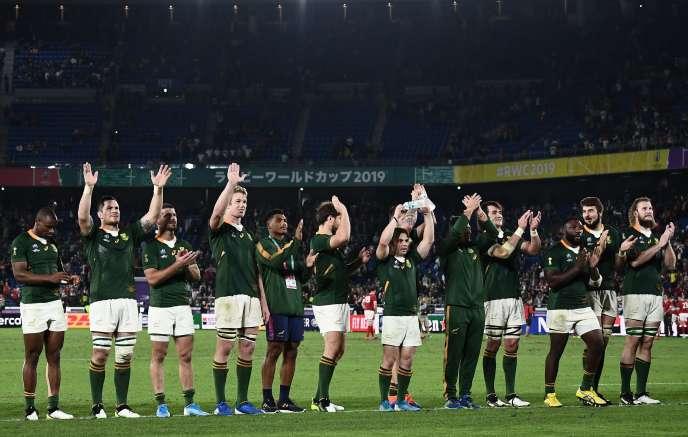 Rugby Les Sud-Africains célèbrent leur victoire : ils joueront la finale du Mondial.