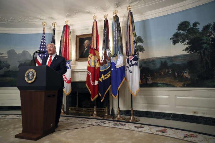 Le président des Etats-Unis, Donald Trump, lors de son allocution à la Maison Blanche, le 27 octobre.