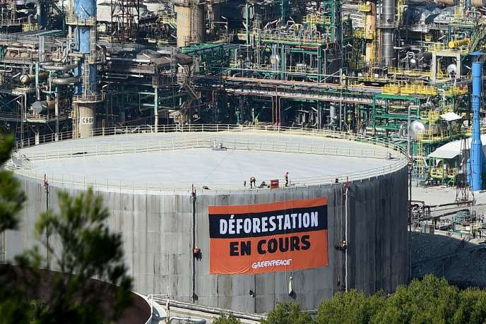 Des militants Greenpeace investissent le site de la raffinerie de La Mède (Bouches-du-Rhône), le 29 octobre.