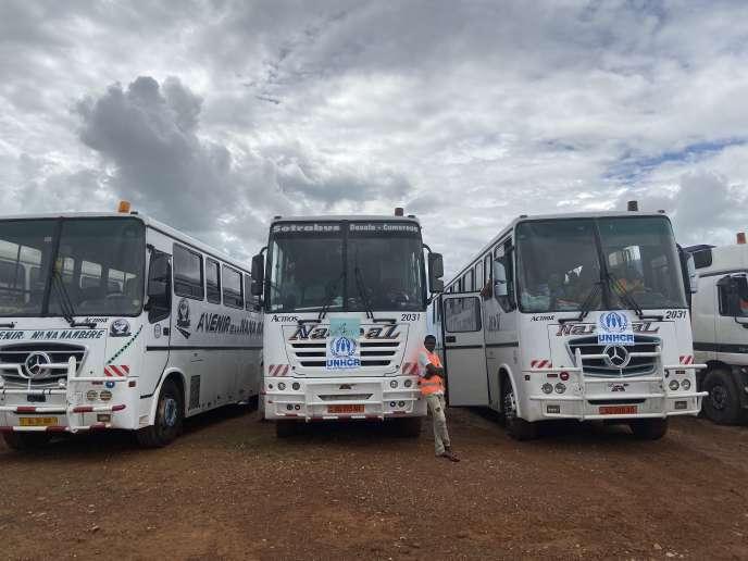Les trois bus du convoi de réfugiés centrafricains, au camp deGado-Badzéré, au Cameroun, le 23 octobre 2019.
