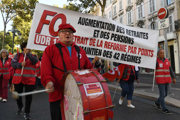 Manifestations contre la réforme à points, à Marseille, le 8 octobre 2019.