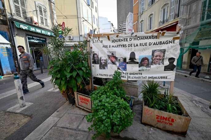 Hommage aux victimes de la rue d'Aubagne, à Marseille, le 25 octobre.