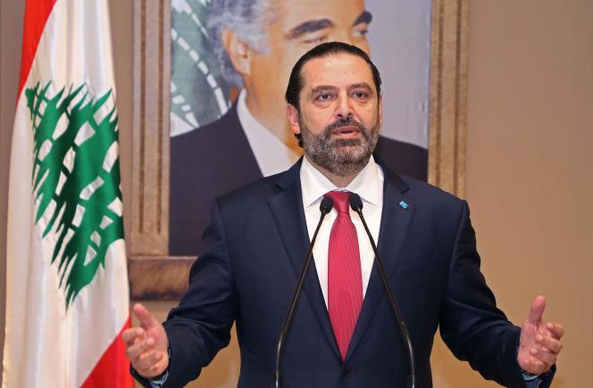 Saad Hariri lors de l'annonce de sa démission, le 29 octobre 2019 à Beyrouth.