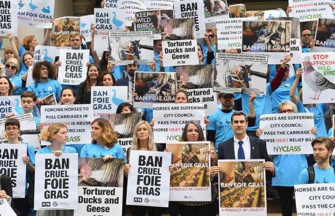 Rassemblement de défenseurs des droits des animaux en faveur d'un projet de loi interdisant la vente de foie gras,à New York,le 18 juin.