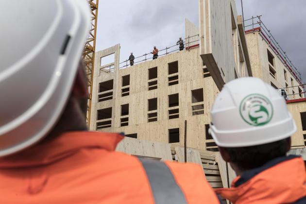 Construction de la résidence «Sensations», au port du Rhin, à Strasbourg,en janvier 2018.