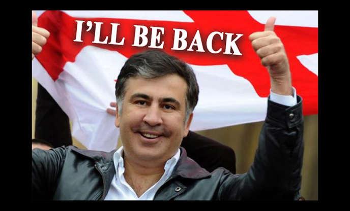 Image affichée sur les ordinateurs piratés, montrantl'ancien président pro-occidental, Mikheïl Saakachvili, accompagné de la phrase : « je reviendrai!»