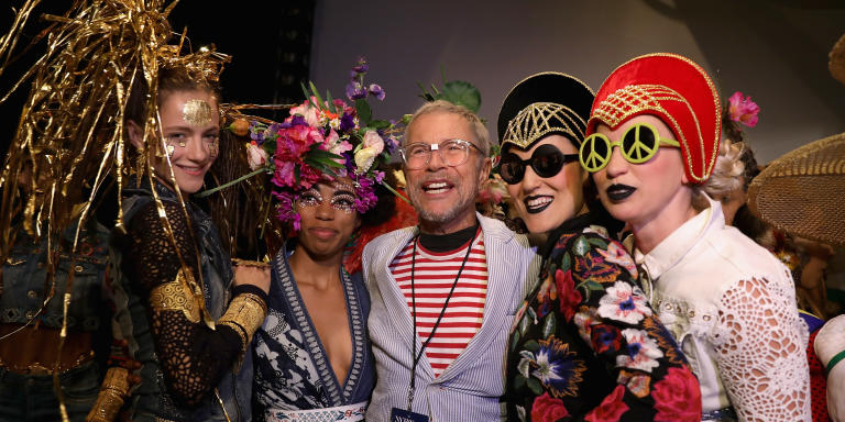 NEW YORK, NY - SEPTEMBER 07: Designer Jean-Paul Goude poses with a model backstage for Desigual fashion show during New York Fashion Week: The Shows at Gallery 1, Skylight Clarkson Sq on September 7, 2017 in New York City.   Anna Webber/Getty Images For Desigual /AFP