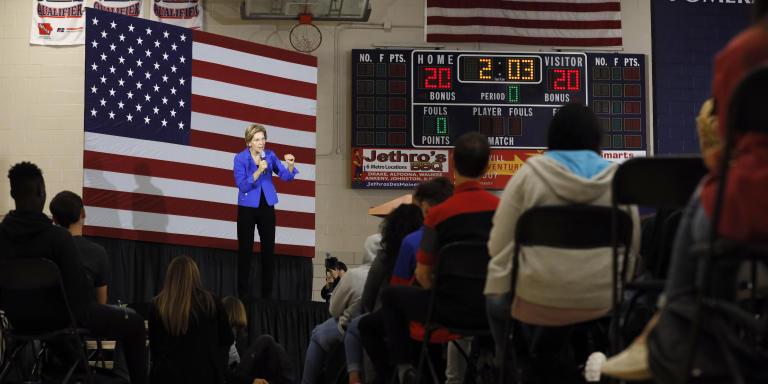 Democratic presidential candidate Sen. Elizabeth Warren, D-Mass., speaks to students and staff at Roosevelt High School, Monday, Oct. 21, 2019, in Des Moines, Iowa. (AP Photo/Charlie Neibergall)