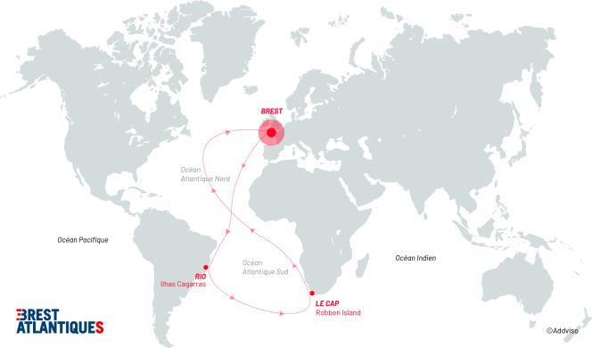 Les skippers effectueront un« grand huit» dans l'Atlantique.