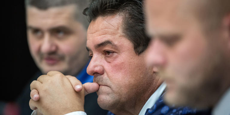 A file picture taken on June 28, 2018 shows Slovak entrepreneur Marian Kocner, then detained by police on suspicion of fraud, attending a hearing at a courthouse in Bratislava. - Slovak prosecutors said on March 14, 2019 that they have charged entrepreneur Marian Kocner with ordering the murder of investigative journalist Jan Kuciak, whose killing triggered mass protests that toppled the prime minister. Kuciak had been investigating Kocner's business activities as well as alleged ties between Slovak politicians and the Italian mafia before he and his fiancee Martina Kusnirova were gunned down at home in February 2018. (Photo by TOMAS BENEDIKOVIC / AFP)