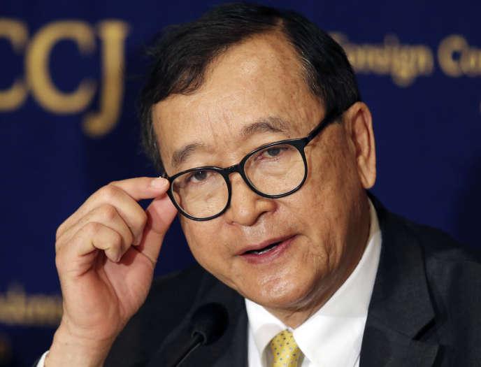 Sam Rainsy, chef de l'opposition cambodgienne en exil, en avril 2018 à Tokyo.