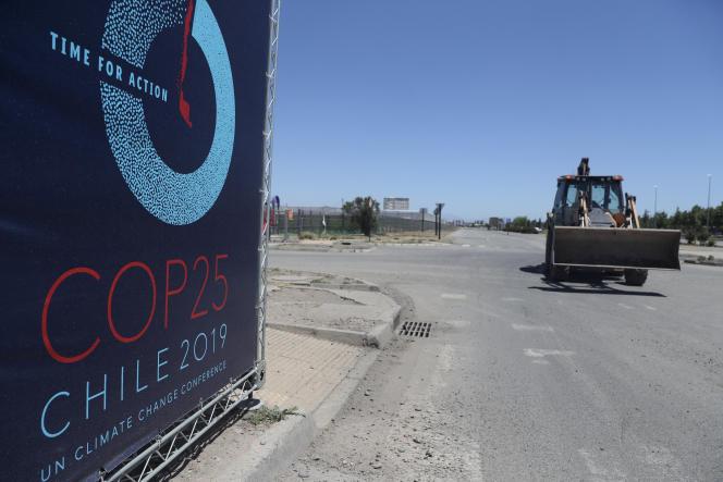 Le site qui devait accueillir la COP25, dans un parc de Santiago (Chili), le 30octobre.