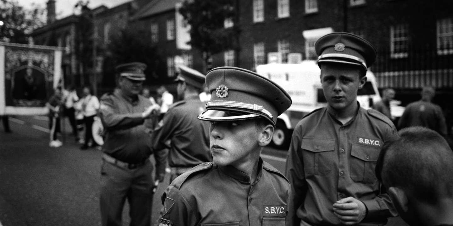 Belfast, Shankill. Protestant parade at Crumlin Road on July 12th.