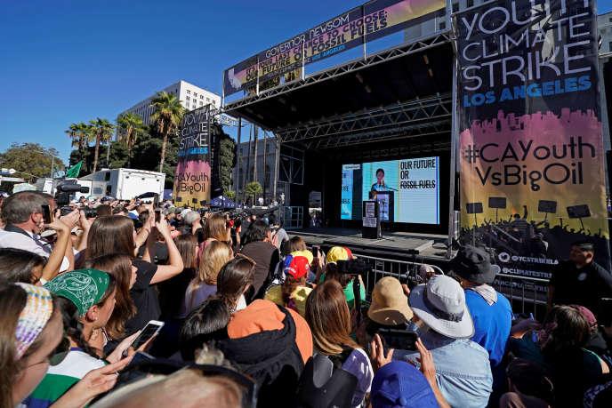 La militante écologiste Greta Thunberg participait à une manifestation des jeunes pour le climat à Los Angeles, le 1er novembre.